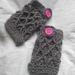 Charcoal Grey Australian Pure Wool Latticed Fingerless Mitts with Chunky Hot Pink Buttons -100% WOOL