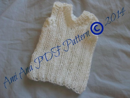 PDF PATTERN ONLY Knitted Unisex Baby Ribbed V-Neck Singlet Pattern