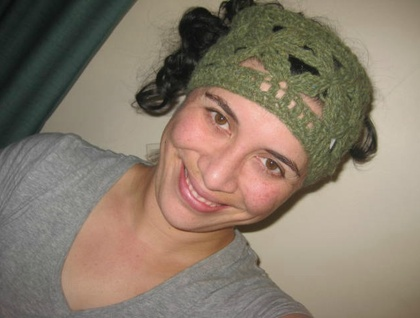 Pale Green with Flecks of Light Turquoise Merino and Possum Wool Blend Flowery Wide Crochet Headwrap/Neckwarmer