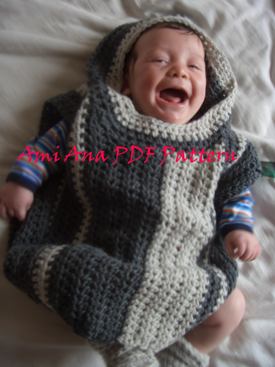 PDF PATTERN ONLY - Ami Ana Baby/Toddler Boy Crochet Hooded Poncho ...