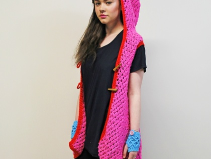 Candy Pink Funky Sleeveless Hooded A-line Coat with Scarlet Red Trim AcrylicYarn