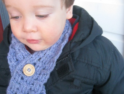 Unisex Button-up Baby Scarf in Crochet Basket Stitch CUSTOM MADE AS ORDERED