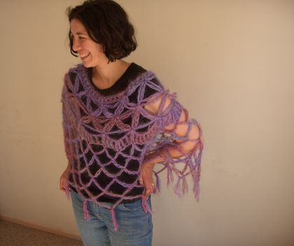 PinknPurple Mohair and Acrylic Blend Petal Stitch Yoke Crochet Mesh Poncho