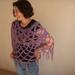 PinknPurple Mohair and Acrylic Blend Petal Stitch Yoke Crochet Mesh Poncho