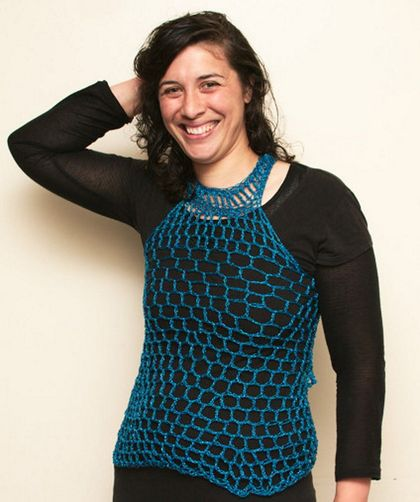 Stunning Sparkly Metallic Turquoise Mesh Top with Egyptian Collar Neckline - Sparkly Shimmery Metallic Blend Yarn