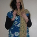 """""""Peaches and Apricot"""" Flowery Hooded Scarf in Soft'n'Fluffy 50-50 Mohair and Acrylic Yarn Blend"""