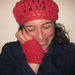 Red Bobble Beret - Merino, Angora and Nylon