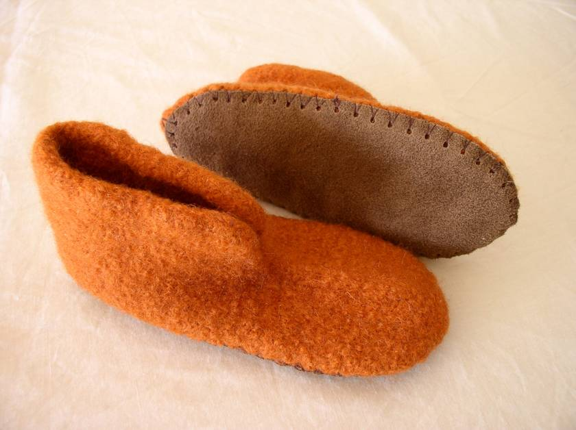felted slippers with leather sole