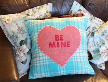 """Be Mine"" Love Heart Cushion Vintage Wool"