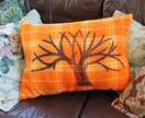 Winter Tree - Reto Orange Checked Cushion