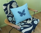 Indigo Butterfly on Duck Egg Blue Cushion