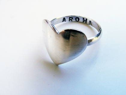 AROHA <3 LOVE STATEMENT <3 HEART RING <3 Sterling Silver <3 Handmade<3