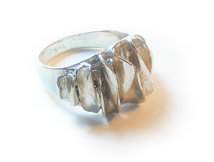 Oyster Ring. Sterling Silver Ring. Textured ring