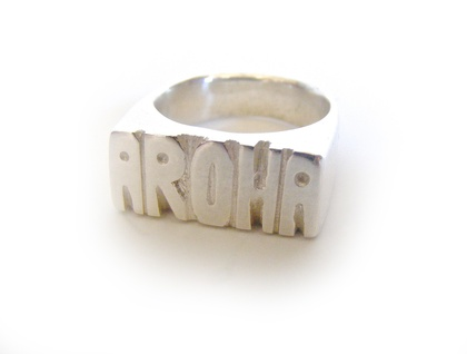 Aroha Signet Sterling Silver Ring
