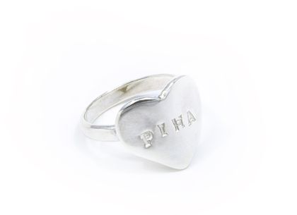 Home Town Heart Ring. Any word up to 6 letters. Sterling Silver Heart Ring