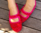Women's Crocheted House Shoes in Red & Pink, Mary Jane, House Slippers, Slipper Socks