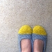 Crochet Slippers for Women in Yellow and Grey