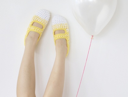 Lemon Meringue: Women's Crochet Mary Jane Slipper Socks