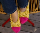 Women's Crocheted Slippers, House Shoes in Pink & Yellow, Slippers Socks, Ballet Shoes, Flats