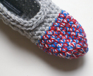 Women's Crocheted Slippers, House Shoes in Red & Blue Grey, Slippers Socks, Ballet Shoes, Flats