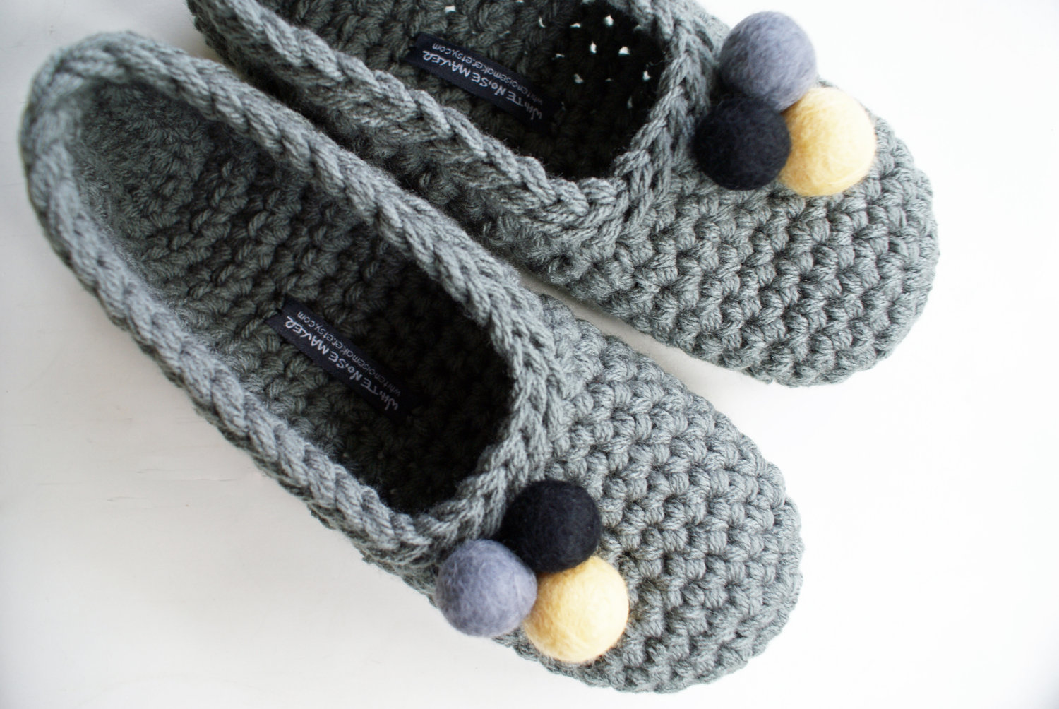 Crochet Slippers : Crocheted Slippers with Felt Embellishments for Women in Grey Felt