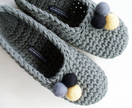 Crocheted Slippers with Felt Embellishments for Women in Grey