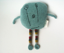I Miss You - Knitted monster in pale blue merino