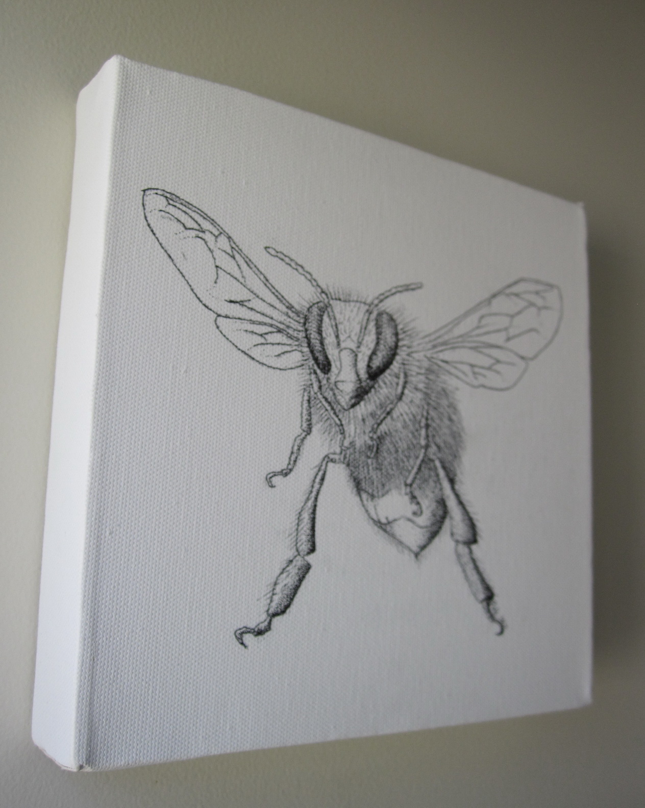 honey bee original drawing on canvas felt