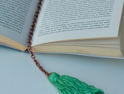 Copper bookmark // Silk tassel // Personalised quote, lyric, or message