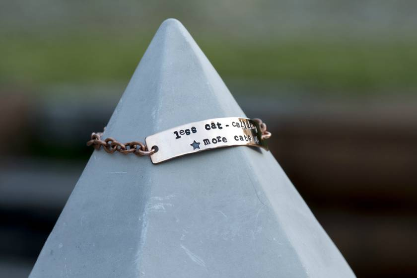 Copper bracelet // Less cat calling, more cats // With stars // Feminist
