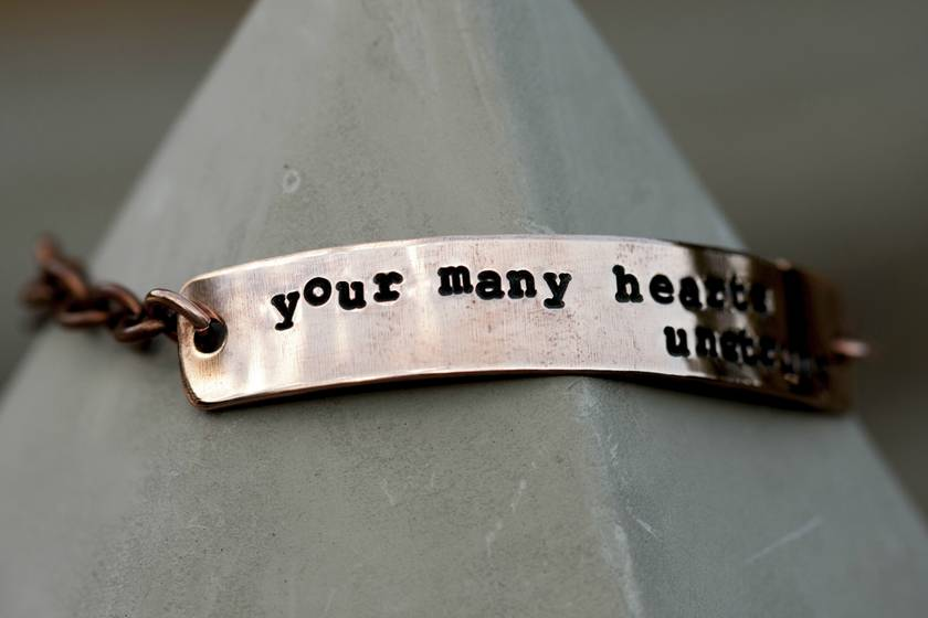 Copper bracelet // Poem // 10mm tall // Kim Addonizio // Newsprint style font