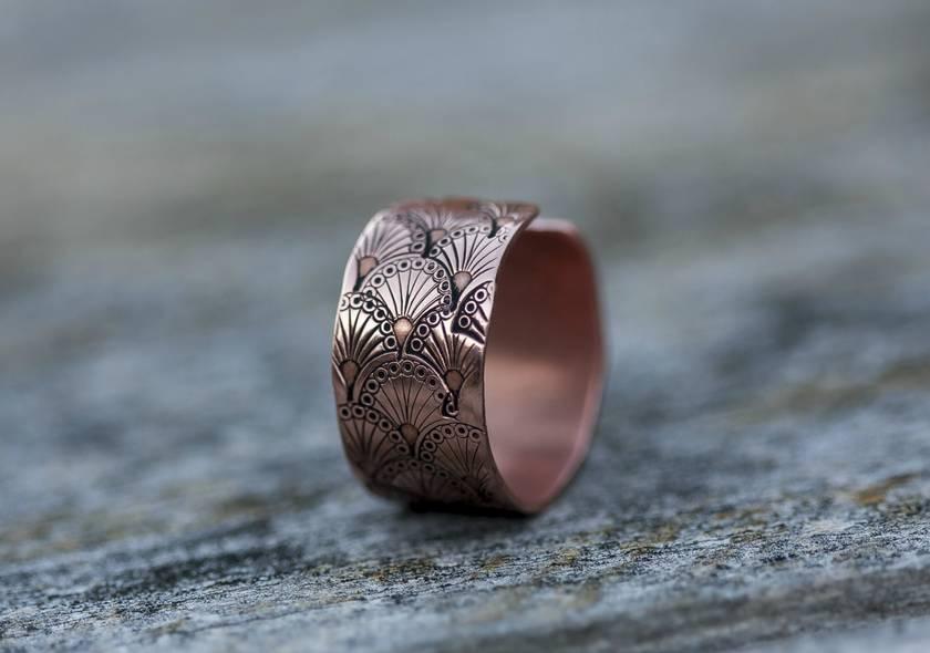 Wide copper ring // Handstamped art nouveau pattern // Adjustable // Made to order