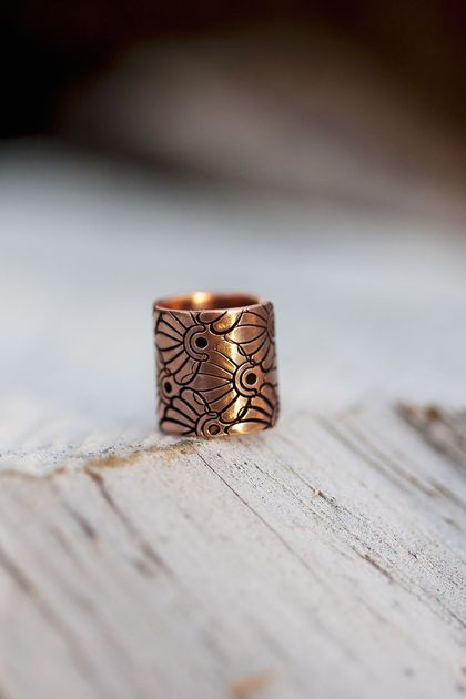 Copper ear cuff // Art deco pattern // Non-pierced // Made to order
