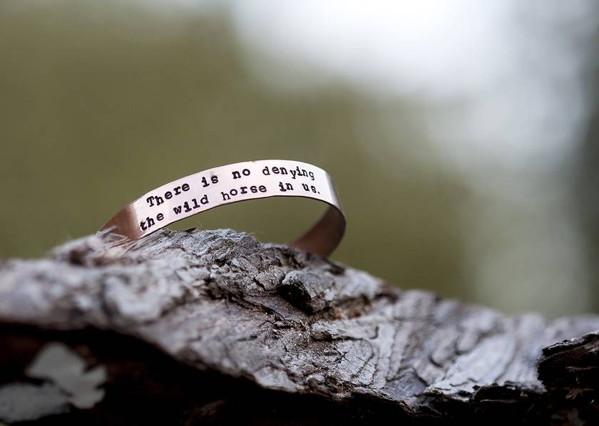 Stamped copper bangle // Virginia Woolf quote // Handstamped to order // Wild Horses