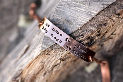 Copper bracelet // Janelle Monáe quote // 10mm tall // Newsprint style font
