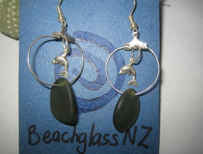 Dolphin and light green beachglass earrings