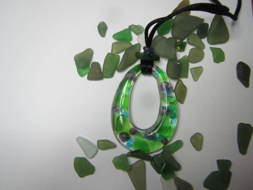 Purple shells, faux blue glass and green beachglass/seaglass resin pendant necklace