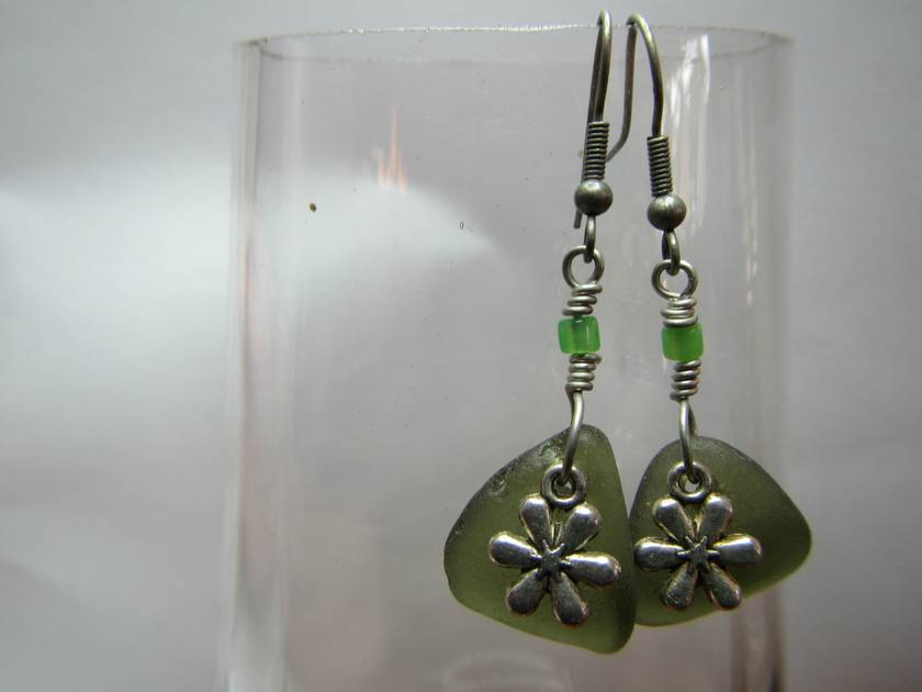 Green beachglass and flower charm earrings