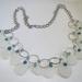 White beachglass, blue and aqua bead necklace