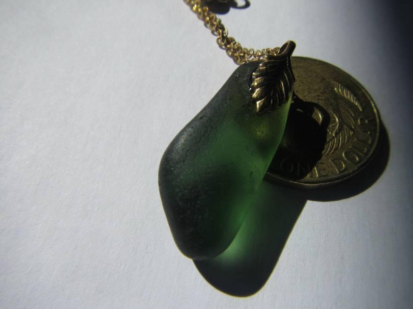 Green beachglass drop pendant