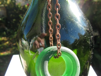 Recycled green glass bottle top necklace
