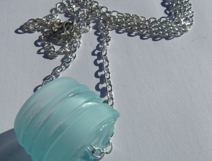 Recycled glass bottle top necklace