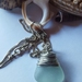 Seafoam beachglass and silver coloured wire pendant necklace