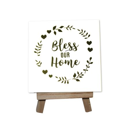 Bless this Home Decorative Tile with stand