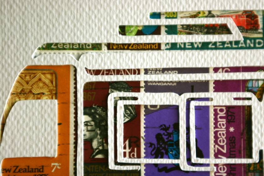 Stencil Stamp art by 11 Post Studio - Campervan