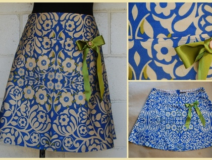 *asQ* ONE OFF DESIGN! Retro Floral in Blue A-line size 16