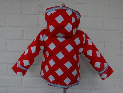 *asQ* ONE OFF DESIGN! Funky, Vibrant Red Gingham Jacket.  Size 1