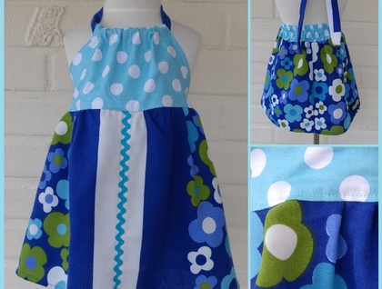 *asQ* ONE OFF DESIGN! Upcycled Retro Tablecloth Halterneck Dress sz 2
