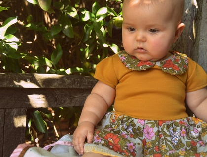 *asQ* ONE OFF DESIGN! Cute Wee Dress with Peter Pan Collar. Mustard Knit and Black/White Stripe ~ Size 12-18 month