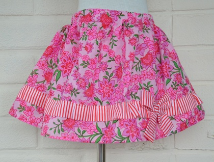 *asQ* ONE OFF DESIGN! Pink, Retro, Floral Skirt ~ Size 3-5
